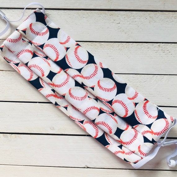 """Face Mask """"Baseball""""/ Cotton / Washable / Adult / Adjustable Elastic / Filter / Face Covering / Nose Wire"""