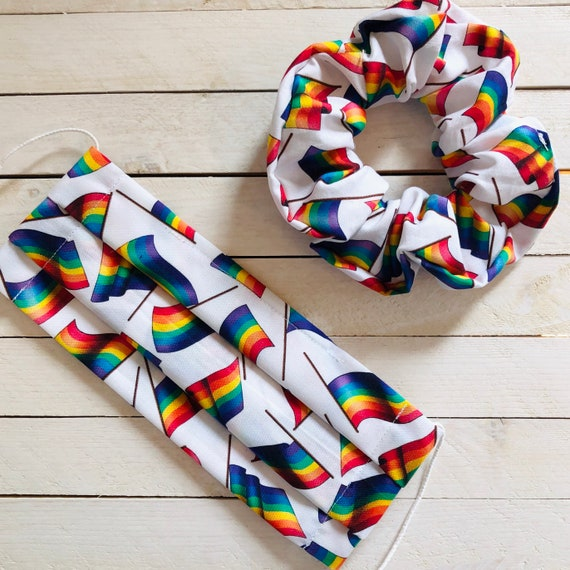"LGBTQ PRIDE Cotton Scrunchie & Adjustable Face Mask Matching Set ""Pride Babe"" / Washable / Adult / Elastic / Filter Pocket"