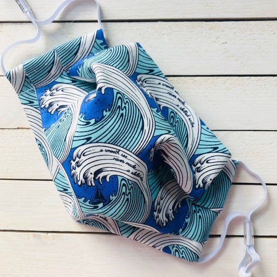 """Face Mask """"Blue Waves""""/ Cotton / Washable / Adult / Adjustable Elastic / Filter / Face Covering / Nose Wire"""