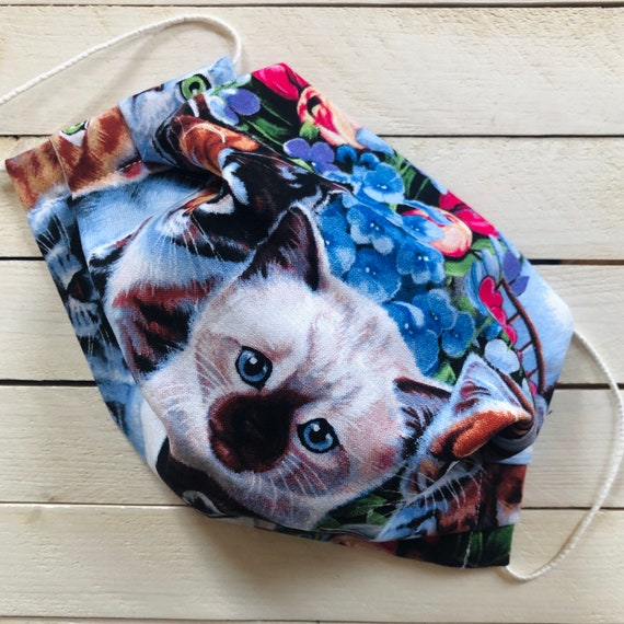 """Adjustable Face Mask """"Sweet Garden Kitties"""" / Cat and Flowers Cotton Face Mask / Adult / Elastic / Filter Pocket / Nose Wire"""