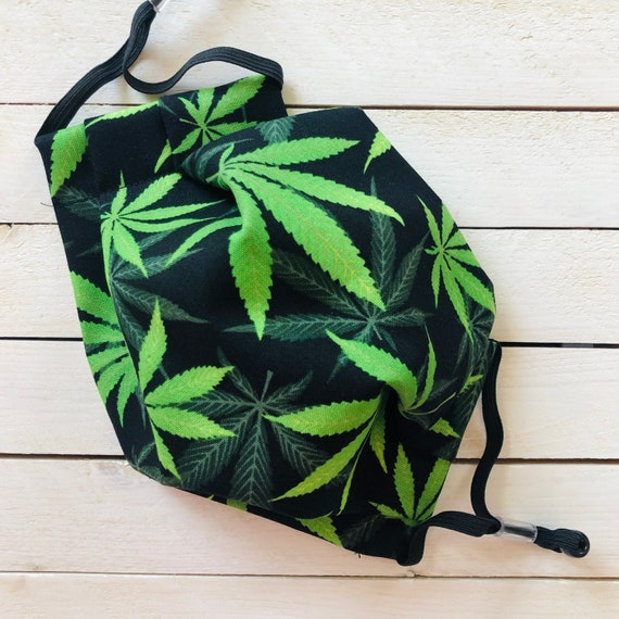 "Face Mask ""Perfect Pot"" / Cotton / Washable / Adult / Adjustable Elastic / Filter Pocket / Cannabis Face Mask / Nose Wire"