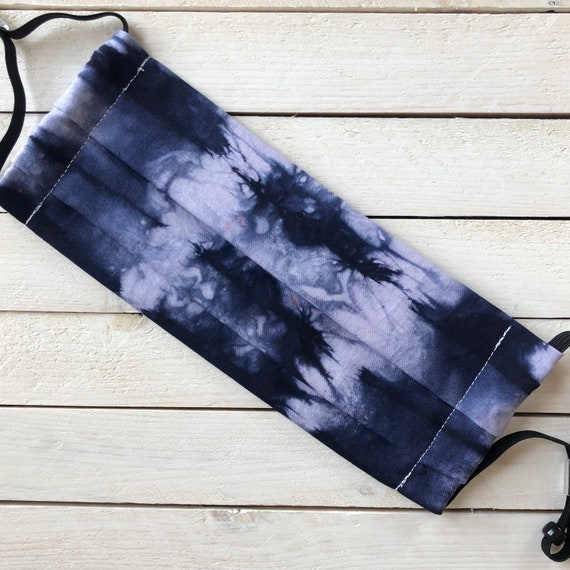 Tie Dye Adjustable Face Mask / Tie Dyed by Hand / Dark Blue / Washable / Adult / Elastic / Filter Pocket / Nose Wire