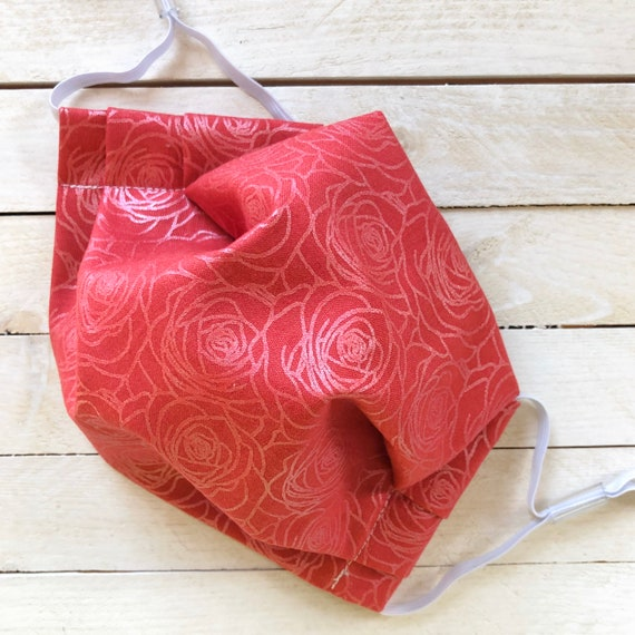 """Face Mask """"Rock & Rose"""" / Cotton / Washable / Adult / Adjustable Elastic / Filter / Face Covering / Nose Wire"""