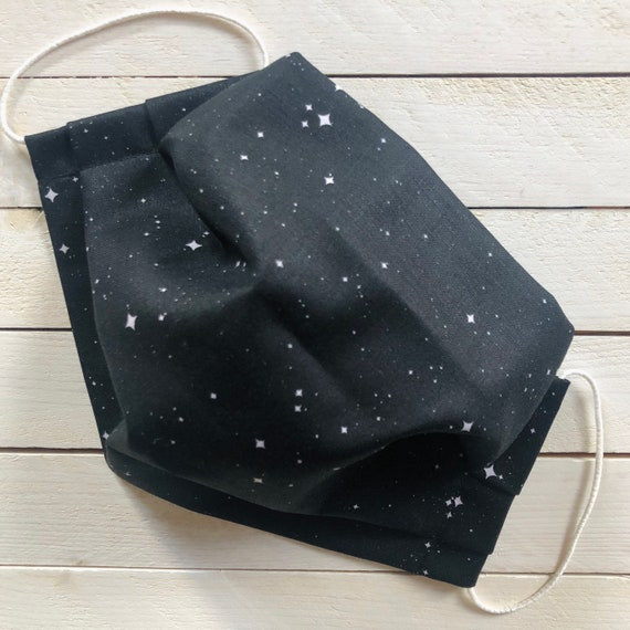 """Adjustable Face Mask """"In a Galaxy Far Far Away"""" Outer Space Cotton Face Mask / Adult / Elastic / Filter Pocket / Nose Wire"""