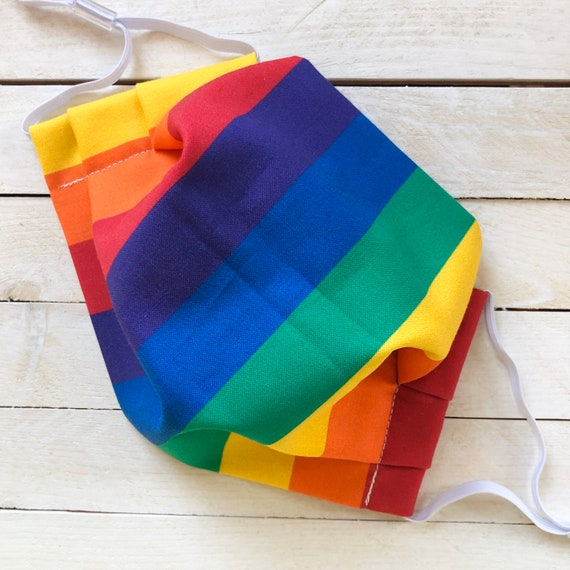 """LGBTQ Face Mask """"Love is Love"""" / Cotton / Washable / Adult / Adjustable Elastic / Filter / Face Covering / Nose Wire / Pride"""