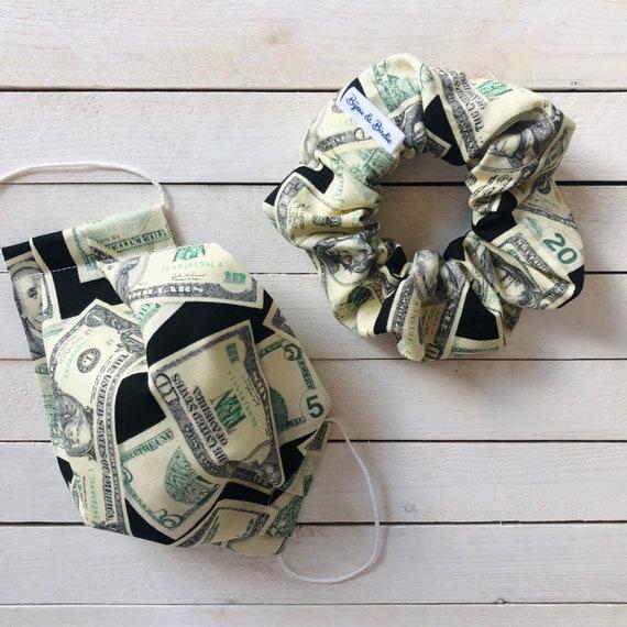 """Cotton Scrunchie & Adjustable Face Mask Matching Set """"Cash Money"""" / Washable / Adult / Elastic / Filter Pocket"""