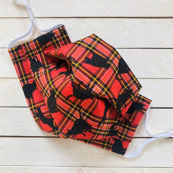 "Face Mask ""Kilt Kitty"" / Cotton / Washable / Adult / Adjustable Elastic / Filter Pocket / Plaid / Tartan / Cat Face Mask / Nose Wire"