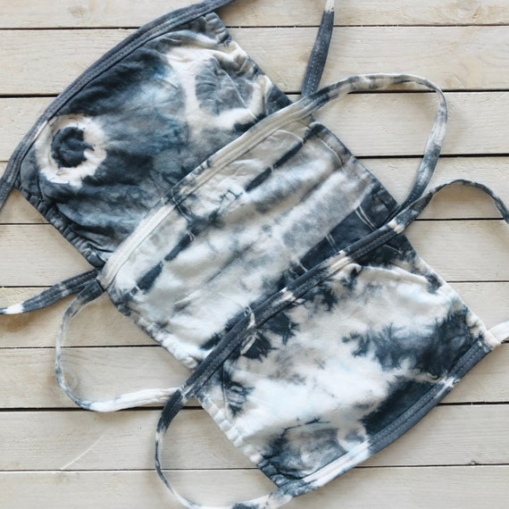 """Tie Dye Cotton Face Mask """"Charcoal"""" / Washable Pocket Stuffer / Womens & Teen / One Size Fits S-M / Summer Face Mask / 2020 Fashion Trend"""