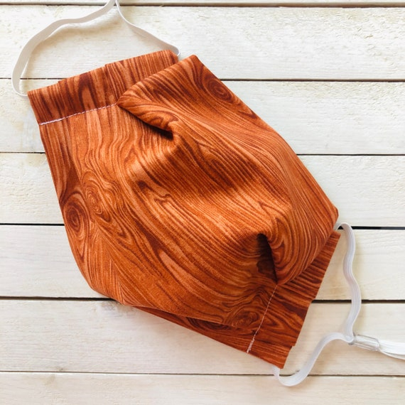 "Face Mask ""Wood Grain"" / Cotton / Washable / Adult / Adjustable Elastic / Filter Pocket / Wood Pattern Face Mask / Nose Wire"
