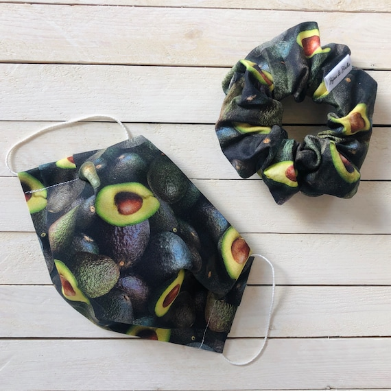 "Cotton Scrunchie & Adjustable Face Mask Matching Set ""Avocado Addict"" / Washable / Adult / Elastic / Filter Pocket"