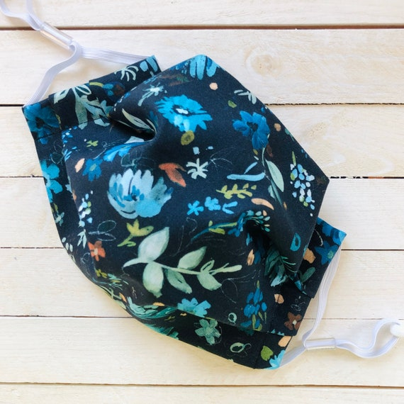 """Face Mask """"Blue Floral Beauty"""" / Cotton / Washable / Adult / Adjustable Elastic / Filter / Face Covering / Nose Wire"""