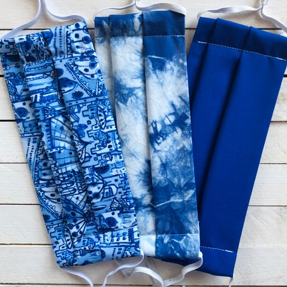 "Face Mask Set ""Blue Summer Babe"" / Hand Tie Dye Cotton / Washable / Adult / Adjustable Elastic / Filter Pocket / Nose Wire"