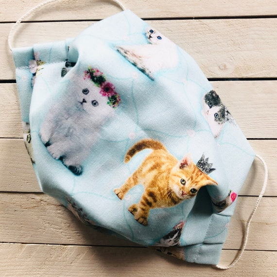 """Adjustable Face Mask """"Queen Kitty"""" Cat Washable Cotton Face Mask / Adult / Elastic / Filter Pocket / Nose Wire"""