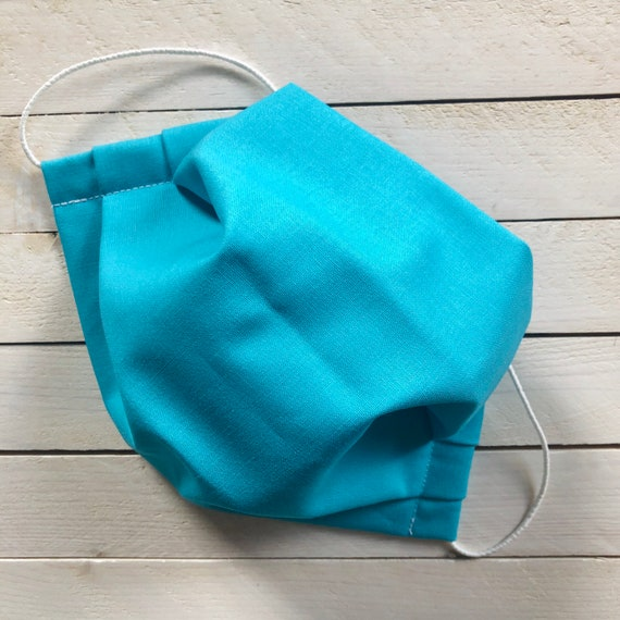 "Adjustable Face Mask ""Aquamarine Dream"" / Turquoise Cotton Mask / Washable / Adult / Elastic / Filter Pocket / Nose Wire"