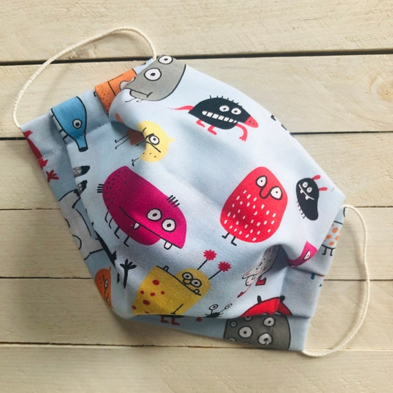 "Adjustable Face Mask ""Little Monsters"" / Cotton / Washable / Adult / Elastic / Filter Pocket / Nose Wire"