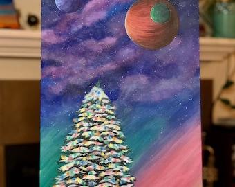 Aurora Borealis over holiday tree