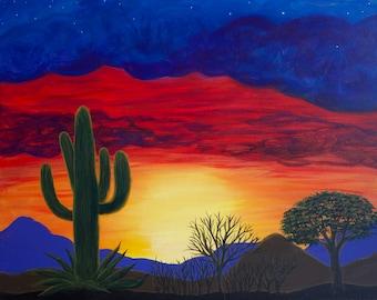 Cactus Beneath Fiery Skies