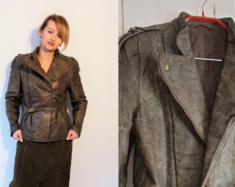 Real Leather 80s 90s Vintage Biker Jacket Womens Washed Brown Greenish Color Zipper jacket Waistband Belt Long Sleeves Size S Small