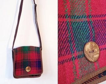 Vintage Canvas and Wool Plaid Crossbody Bag Brown Color Messenger Bag  Medium Size 3a7156cc6