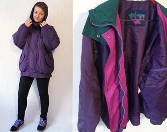 Vintage 90s Sports Jacket Dark Purple Colour Hooded Ski Jacket Long Sleeves  Winter Light Puffer Club sporstwear 6725739e9