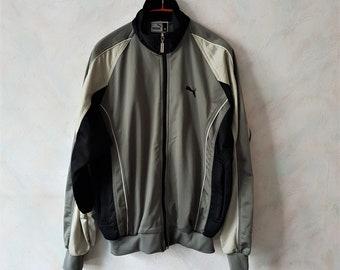 Vintage 90s Puma Sports Jacket Sage Green Black color long sleeves zipper  turleneck pullover sportswear size Medium 80d34390f