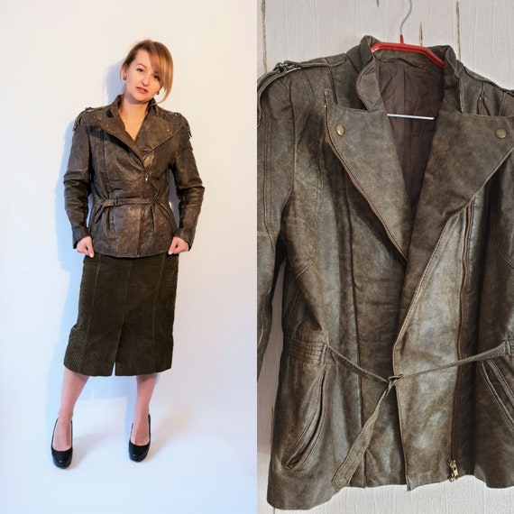 80s 90s Leather jacket super soft leather brown size medium