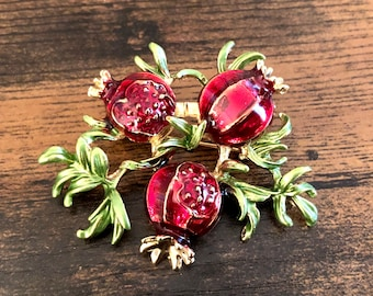 Enamel Red Pomegranate on Branch Fruits Rhinestone Brooch Pin Jewelry A596