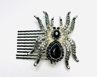 Black Rhinestone Crystal Spider Arachnid Statement Hair Clip Comb Hair Accessories A671