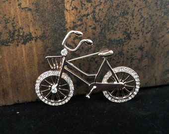 d6526f7a2df Rhinestone Bicycle Bike Basket Brooch Pin A22