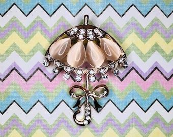 Mary Poppins Gold Rhinestones  Brooch GreenTreeBoutique Golden Umbrella Pin Vintage Costume Jewelry