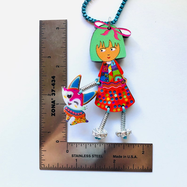 Oversize Artsy Green Hair Fashion Girl with Pet Fox Cartoon Statement Colorful Fun Kitsch Creative Artsy Thick Acrylic Statement Necklace