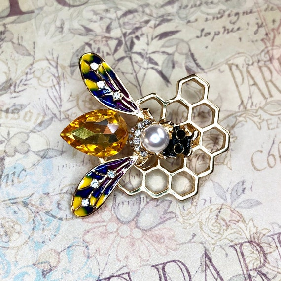 Bronze Color Rhinestones Shell Insect Bug Brooch Pin Jewelry Gift DIY Craft A418