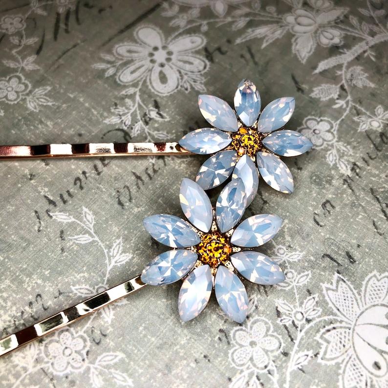 White Daisy Rhinestone Flower Set Hair Clip Barrette A199