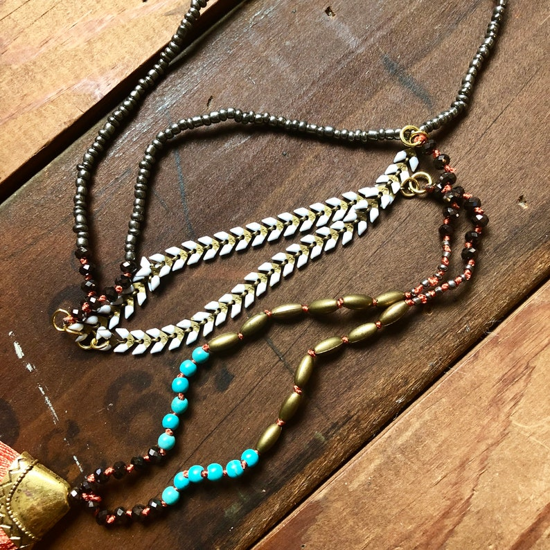Stone Gold Beads with Orange Knots Tassels Festival Indie Artsy Boho Pendant  Necklace Jewelry