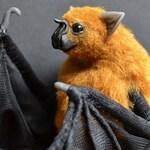 Custom order Vampire Brown Bat art sculpture, soft sculpture, Handmade bat, bat sculpture, stuffed bat, Animal sculpture,Textile Taxidermy.