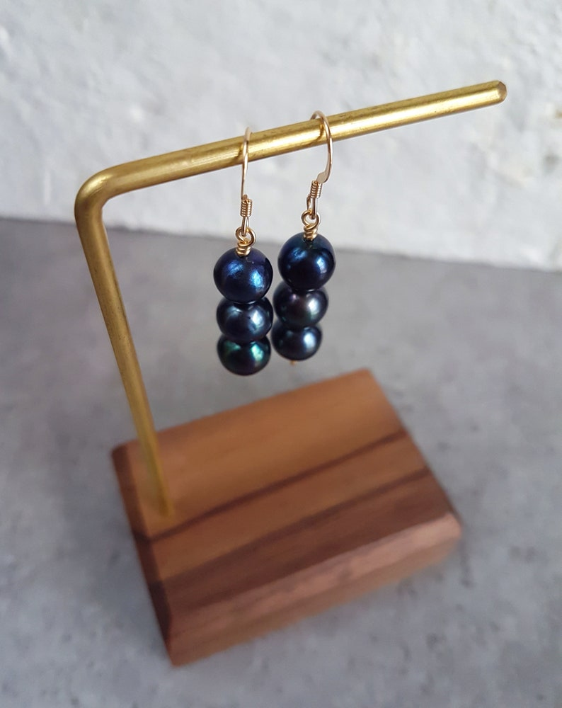 Black pearl earrings freshwater pearl earrings dainty bridesmaid earring drop pearl earring gold pearl earrings genuine pearl earrings