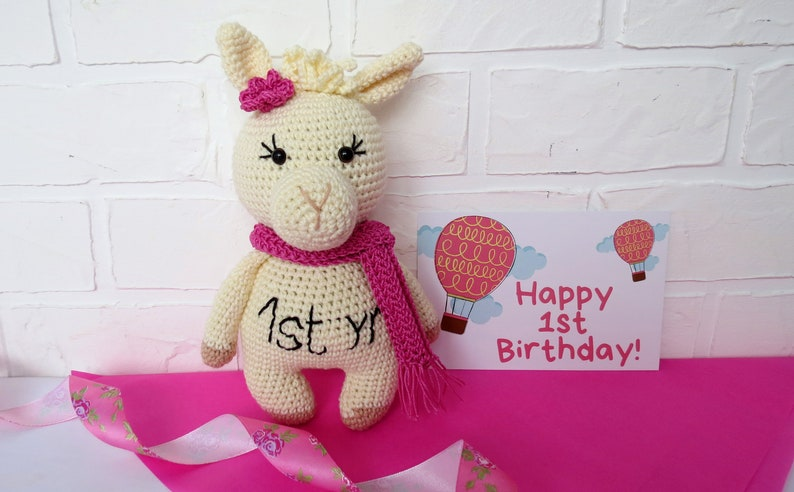 Crochet Llama 1st Birthday Gift Idea Personalized Stuffed Animal For Girl Toddler Stuffed Toy Amigurumi Llama For Girl