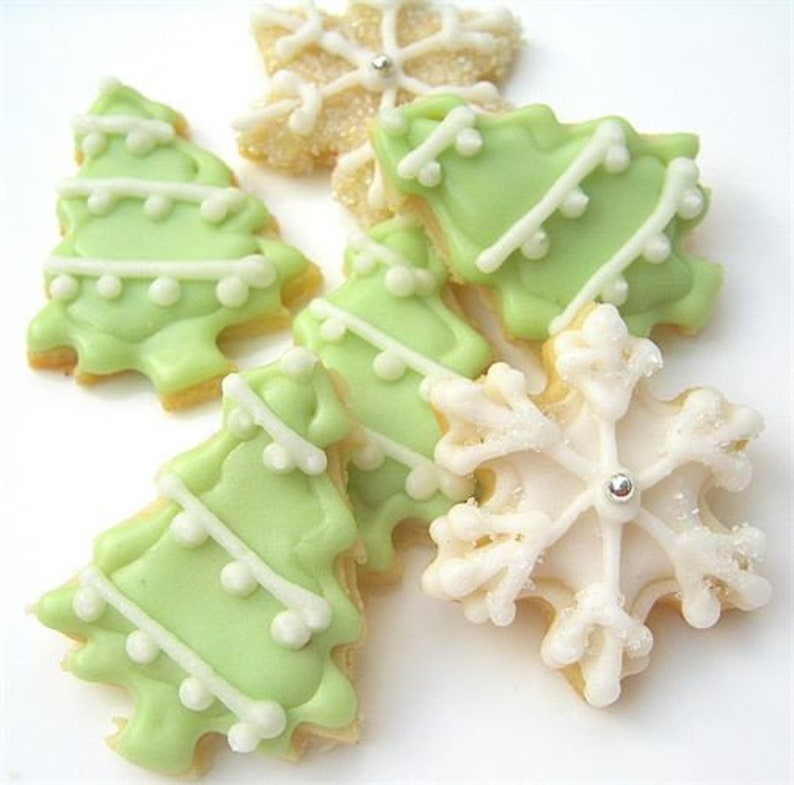 Mini Sugar Cookies Tree And Snowflake Iced Christmas Cookies Mini Holiday Cookies