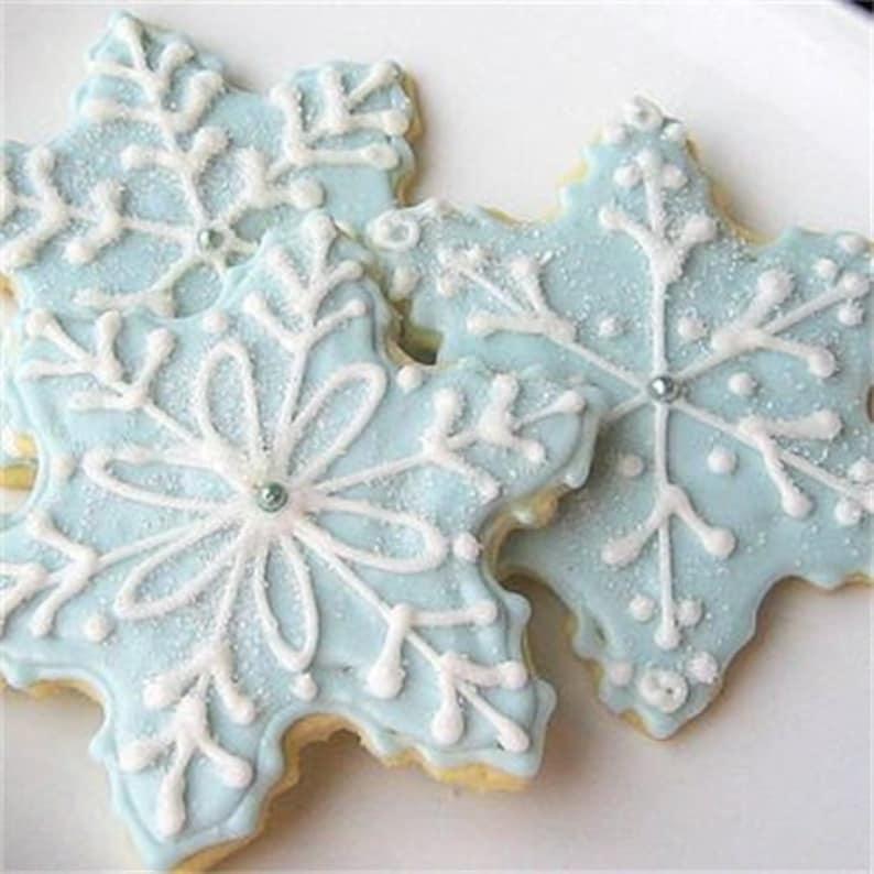Blue Snowflake Sugar Cookies Iced Christmas Cookies Glittering Snowflake Decorated Cookies Holiday Cookies
