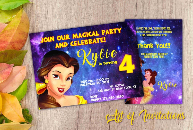 picture relating to Free Printable Beauty and the Beast Birthday Invitations called Magnificence and the Beast birthday Invitation, Printable invitation card, Electronic invitation with No cost Thank your self card