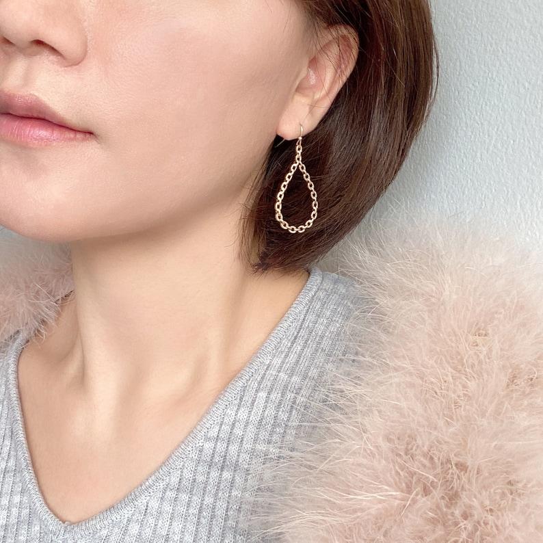 Delicate Geometric Earring Chain Look Earring Gifts For Her Modern Earring Lightweight Earring Minimalist Earring Teardrop Earring