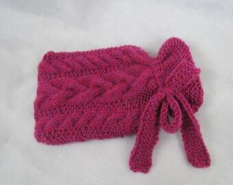"Hot water bottle ""braid pattern pink"""
