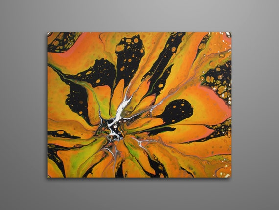 Yellow Orange And Black Fluid Acrylic Pour Painting Abstract Art Pour Art Flower Art