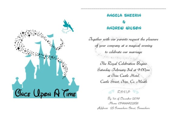 Wedding Engagement Invitations For Day Or Evening A5 Sized Card Disney Themed Designs