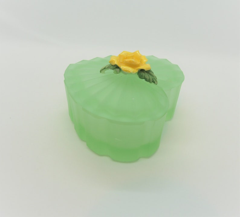 Frosted Green Glass Heart Box with Porcelain Rose Vintage