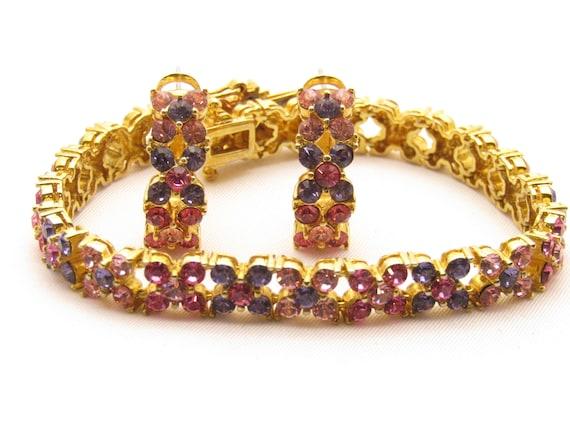 Joan Rivers Pastel Rhinestone Bracelet and Matchin