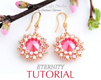 Bead pattern for seed bead earrings, Beaded earrings pattern, Pdf beadweaving tutorial instant download - ETERNITY