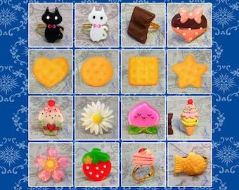 Kawaii Rings (adjustable; nickel free) - Lolita Sweet Fairy Kei Decora Kei Jewelry