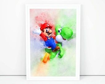 Super Mario Drucker Mario drucken-Cup-Spiel Art Wandbehänge ...
