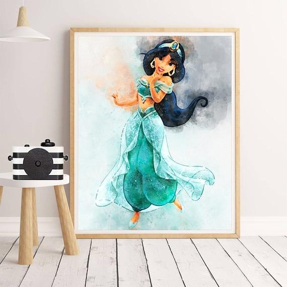 Genie Aladdin Type 2 Wall Art Disney Watercolor Poster Decor Gift Print UNFRAMED